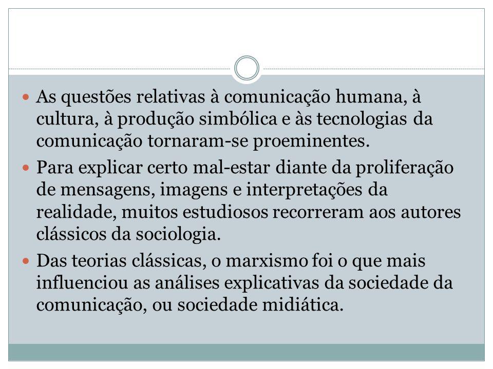 As questões relativas à comunicação humana, à cultura, à produção simbólica e às tecnologias da comunicação tornaram-se proeminentes.
