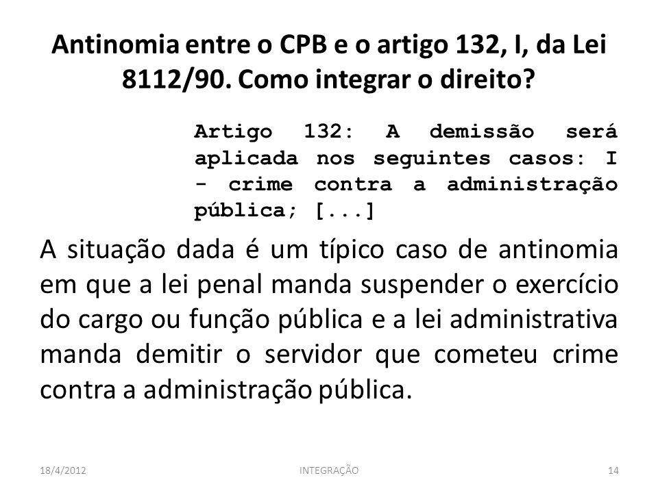 Antinomia entre o CPB e o artigo 132, I, da Lei 8112/90