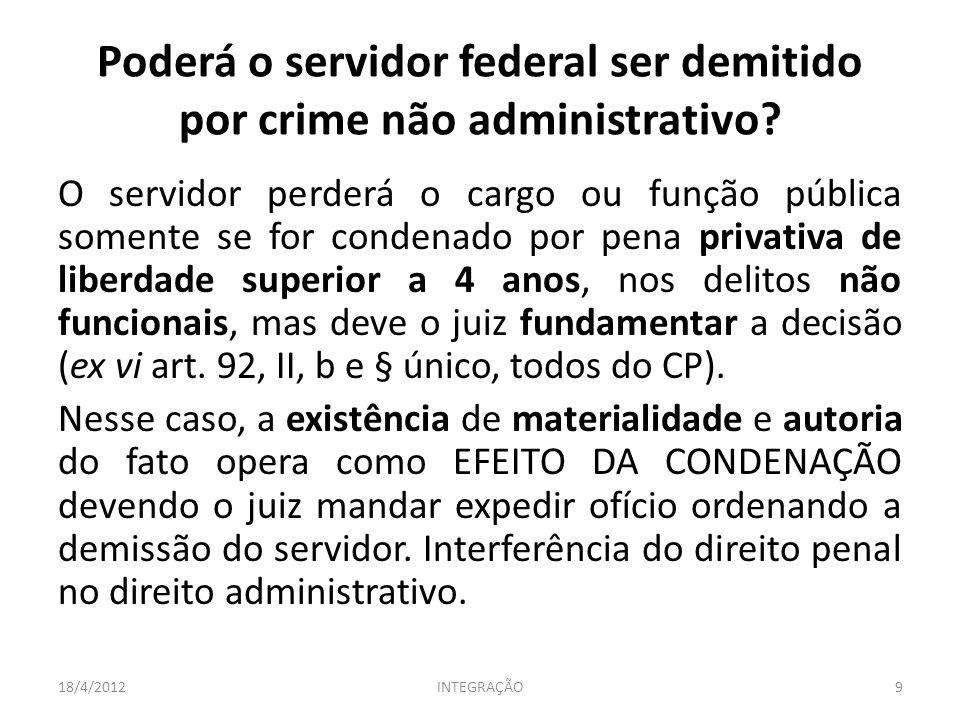 Poderá o servidor federal ser demitido por crime não administrativo