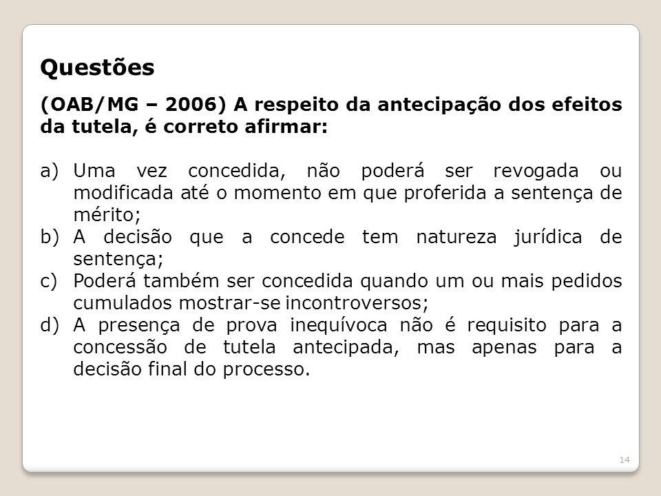 Questões (OAB/MG – 2006) A respeito da antecipação dos efeitos da tutela, é correto afirmar: