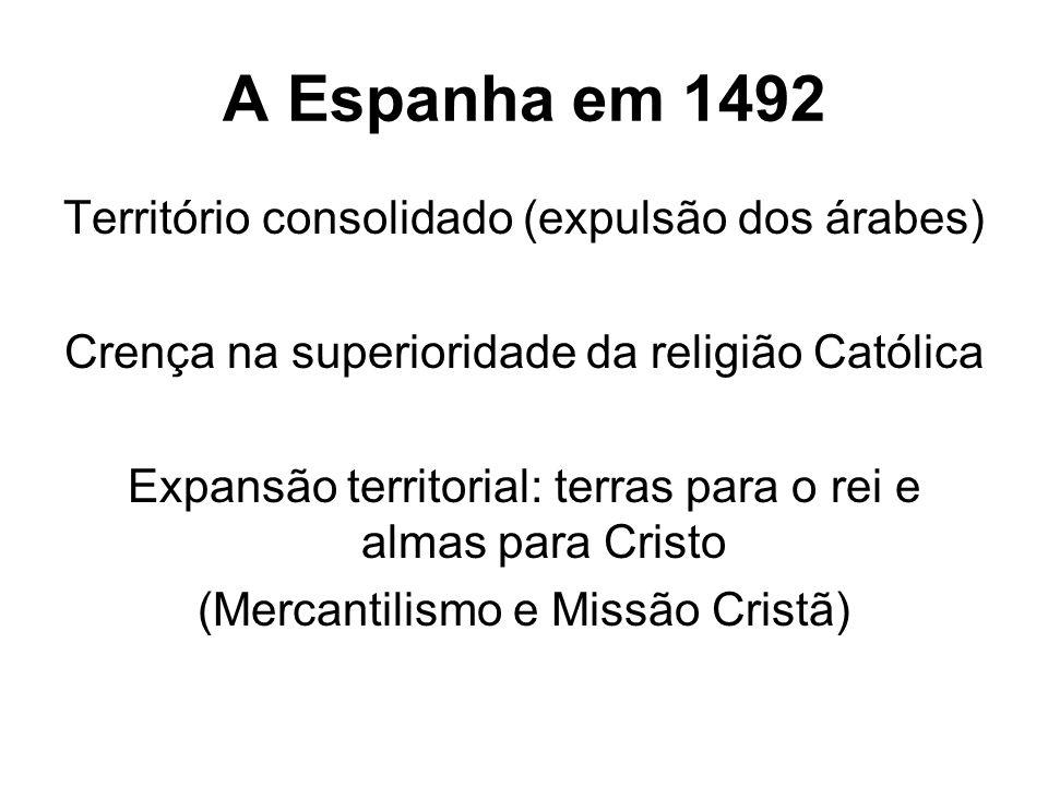 A Espanha em 1492 Território consolidado (expulsão dos árabes)