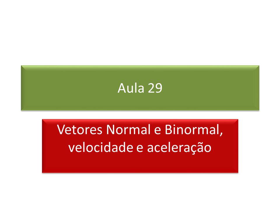 Vetores Normal e Binormal, velocidade e aceleração