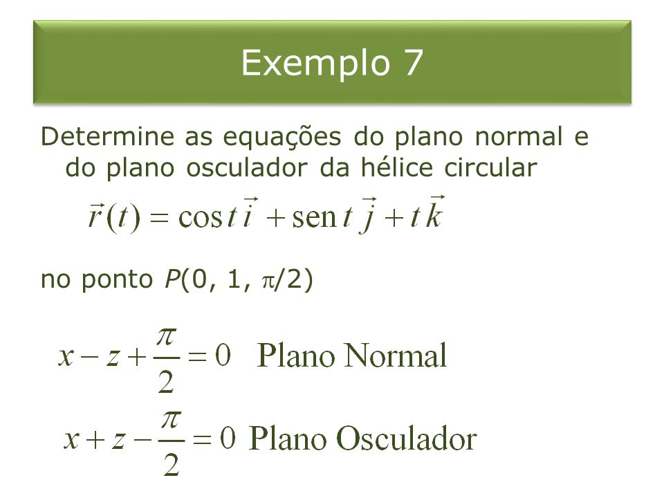 Exemplo 7 Determine as equações do plano normal e do plano osculador da hélice circular no ponto P(0, 1, /2)