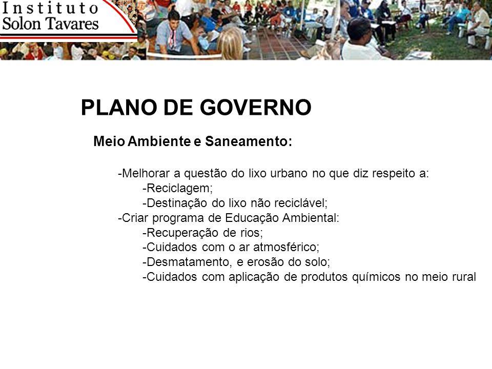 PLANO DE GOVERNO Meio Ambiente e Saneamento: