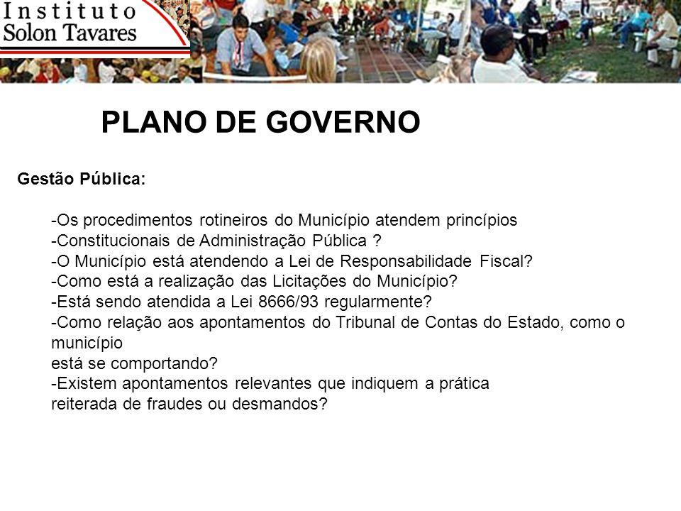 PLANO DE GOVERNO Gestão Pública: