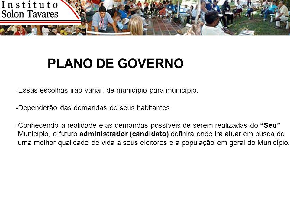 PLANO DE GOVERNO -Essas escolhas irão variar, de município para município. -Dependerão das demandas de seus habitantes.