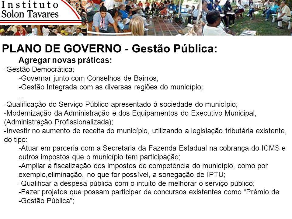 PLANO DE GOVERNO - Gestão Pública: