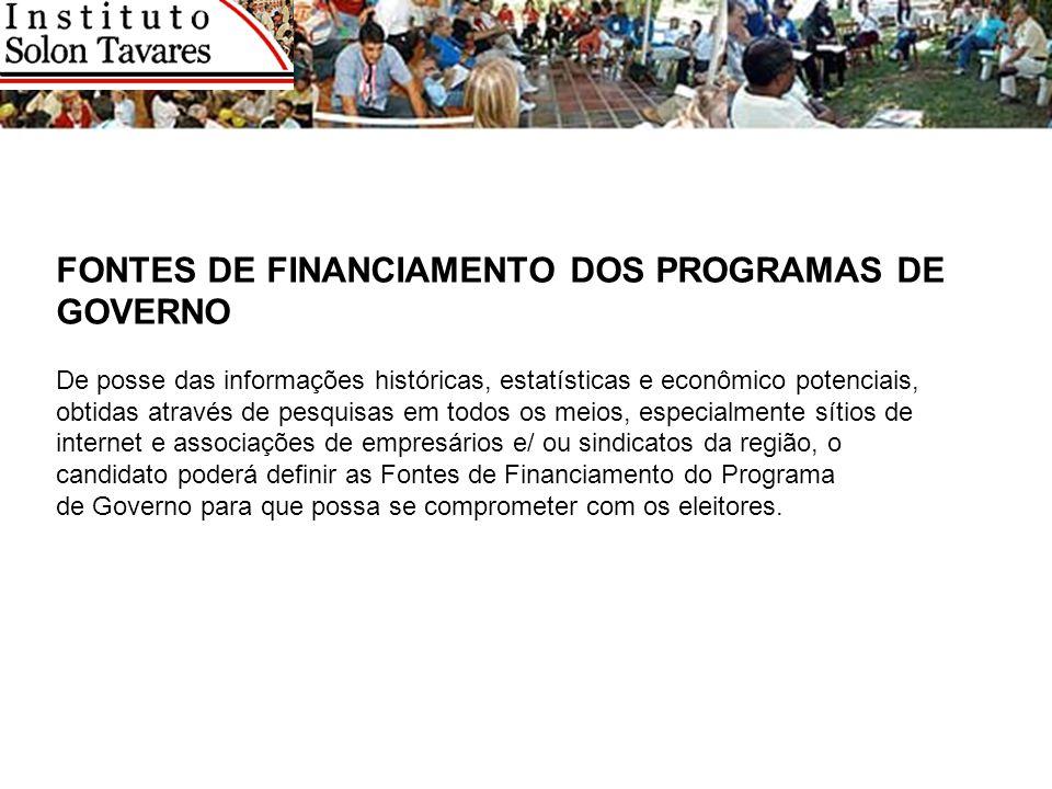 FONTES DE FINANCIAMENTO DOS PROGRAMAS DE GOVERNO