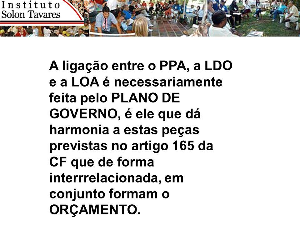 A ligação entre o PPA, a LDO e a LOA é necessariamente feita pelo PLANO DE GOVERNO, é ele que dá harmonia a estas peças previstas no artigo 165 da CF que de forma interrrelacionada, em conjunto formam o ORÇAMENTO.