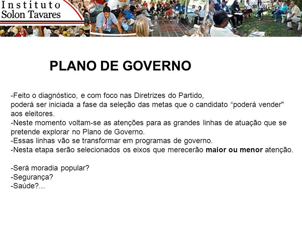 PLANO DE GOVERNO -Feito o diagnóstico, e com foco nas Diretrizes do Partido,