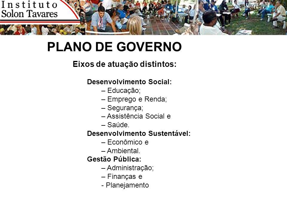 PLANO DE GOVERNO Eixos de atuação distintos: Desenvolvimento Social:
