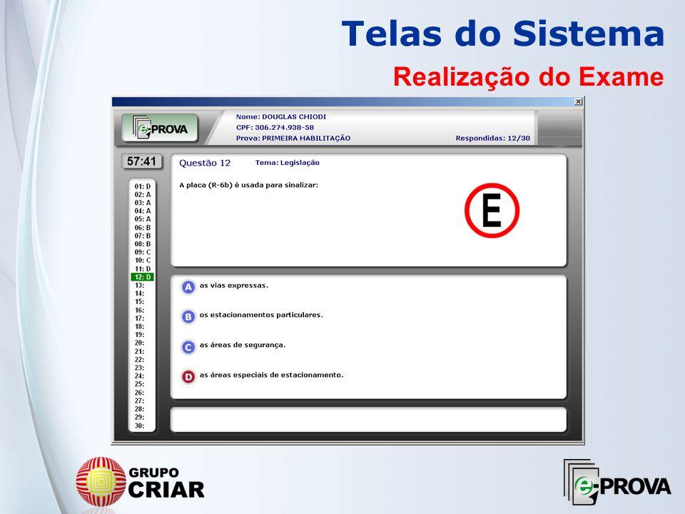 Telas do Sistema Realização do Exame