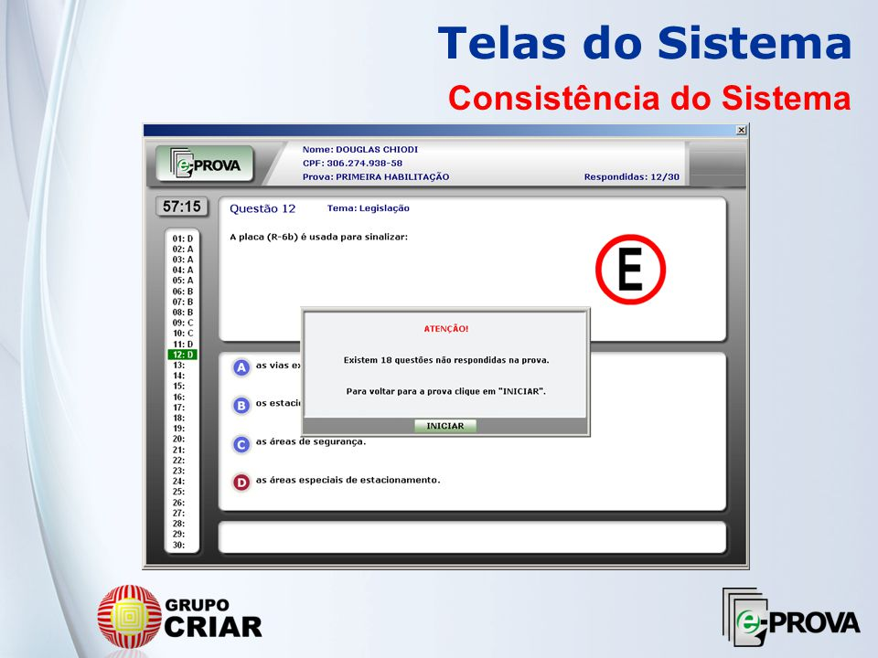 Telas do Sistema Consistência do Sistema