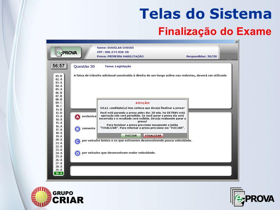 Telas do Sistema Finalização do Exame