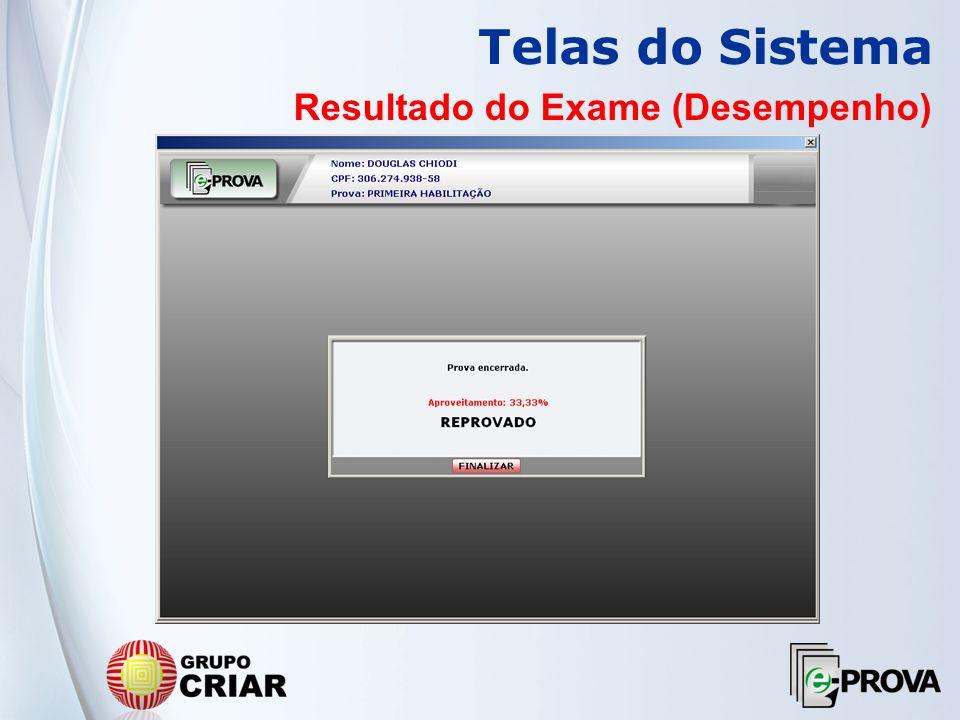 Telas do Sistema Resultado do Exame (Desempenho)