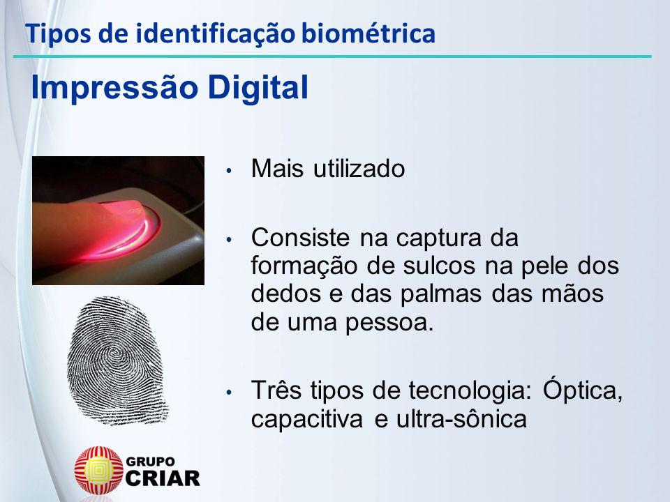 Impressão Digital Tipos de identificação biométrica Mais utilizado