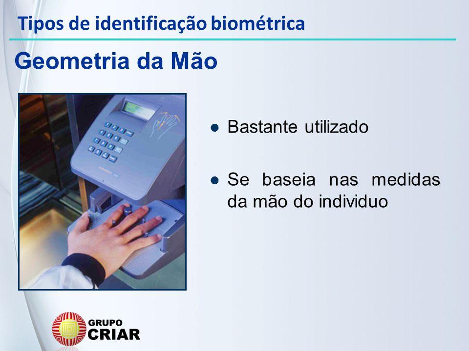 Geometria da Mão Tipos de identificação biométrica Bastante utilizado