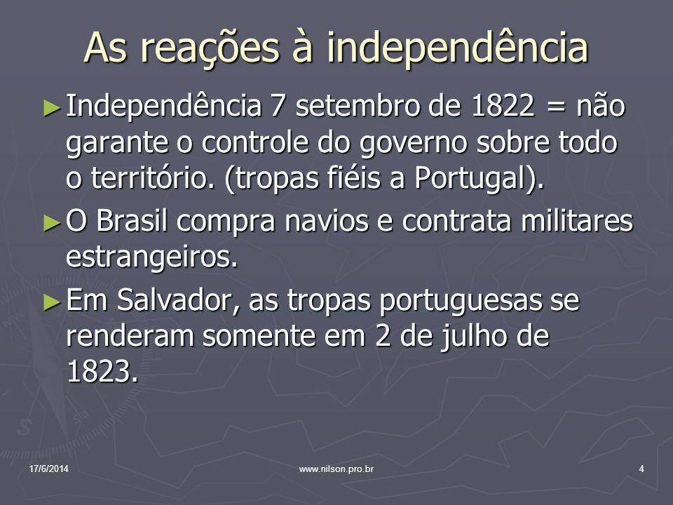 As reações à independência