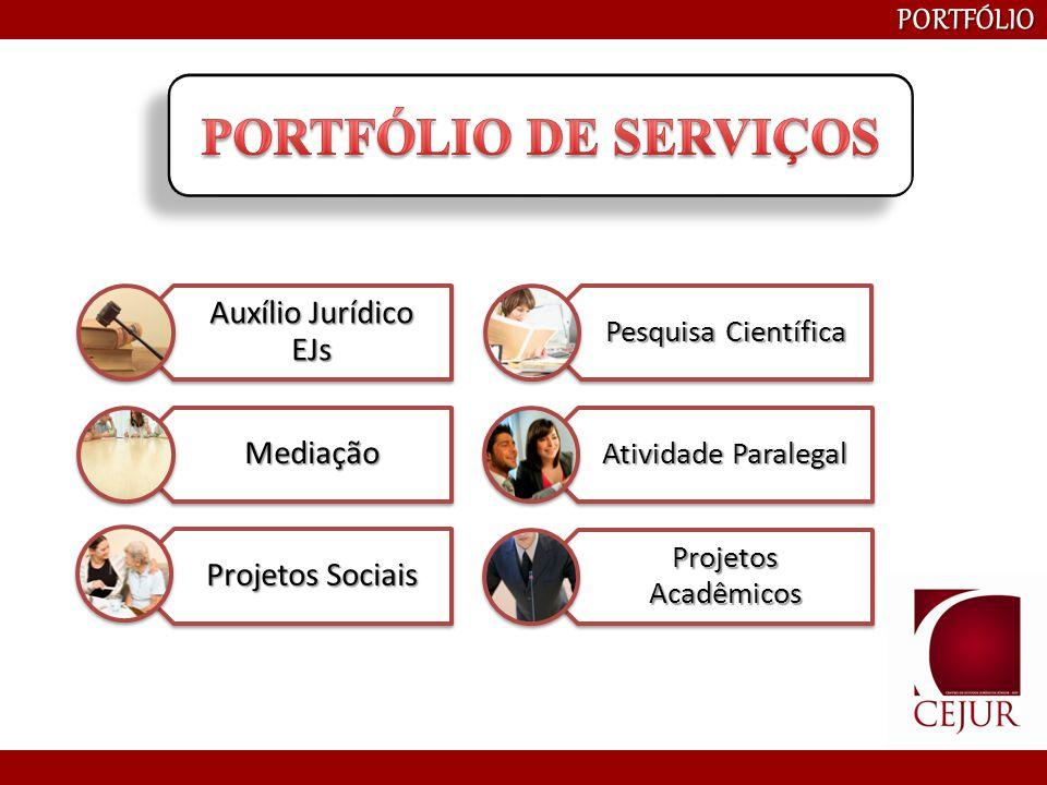 PORTFÓLIO DE SERVIÇOS PORTFÓLIO Auxílio Jurídico EJs Mediação