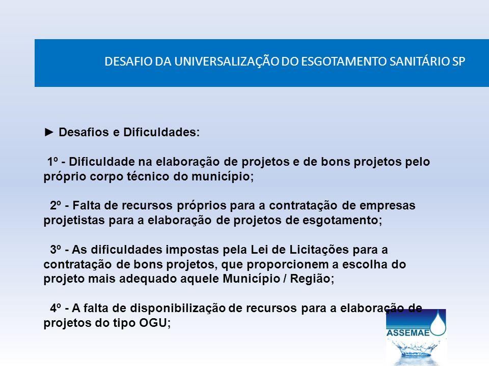 DESAFIO DA UNIVERSALIZAÇÃO DO ESGOTAMENTO SANITÁRIO SP