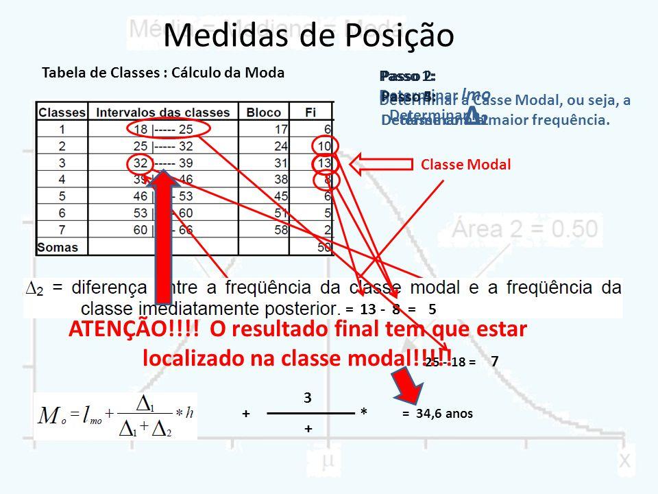 Medidas de Posição Tabela de Classes : Cálculo da Moda. Passo 2: Determinar lmo. Passo 1: Passo 5: