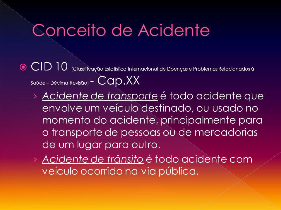 Conceito de Acidente CID 10 (Classificação Estatística Internacional de Doenças e Problemas Relacionados à Saúde – Décima Revisão) - Cap.XX.