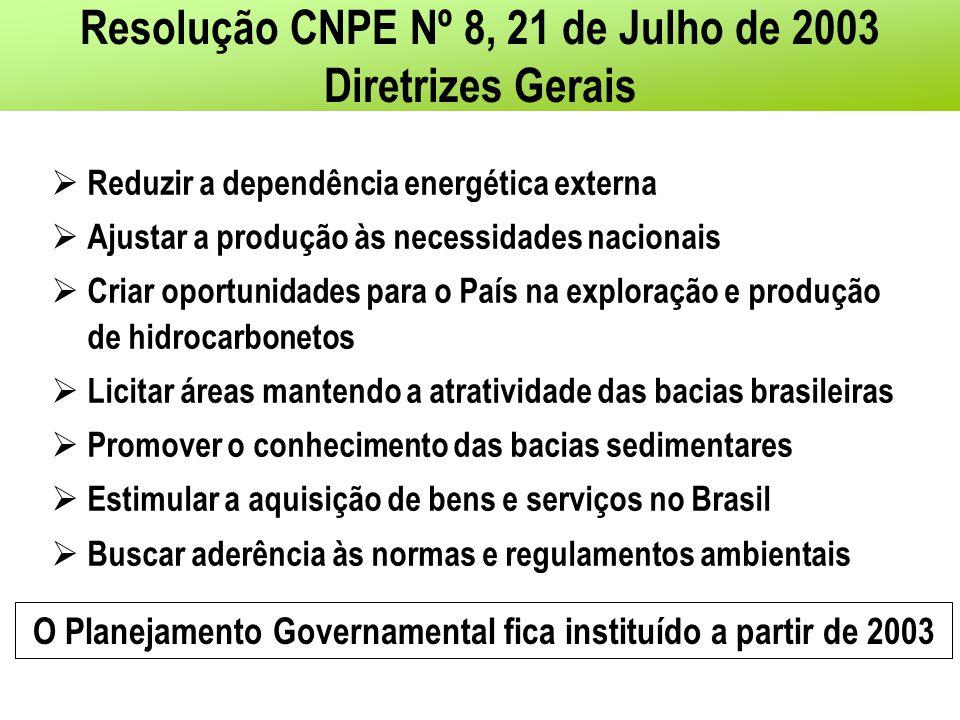 Resolução CNPE Nº 8, 21 de Julho de 2003 Diretrizes Gerais