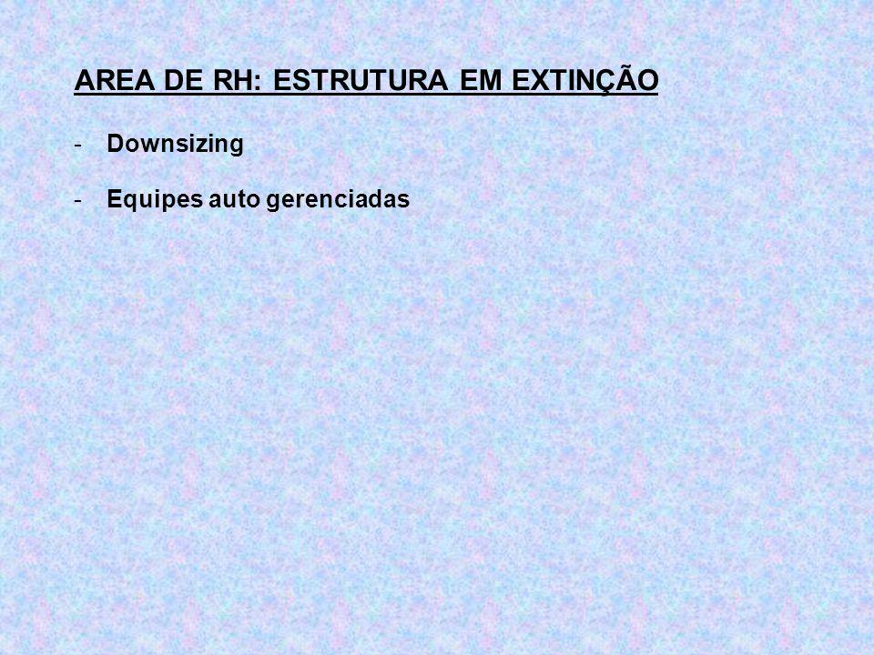 AREA DE RH: ESTRUTURA EM EXTINÇÃO
