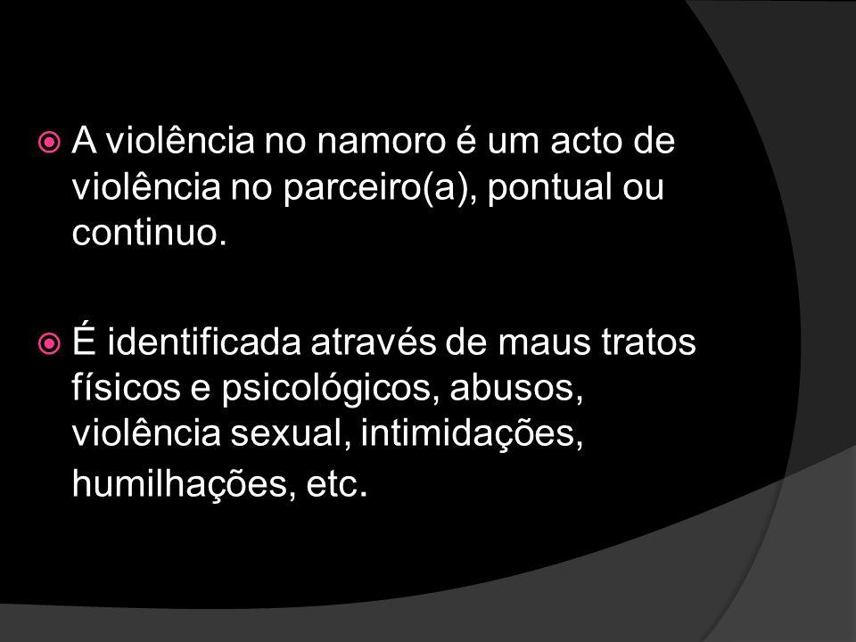 A violência no namoro é um acto de violência no parceiro(a), pontual ou continuo.