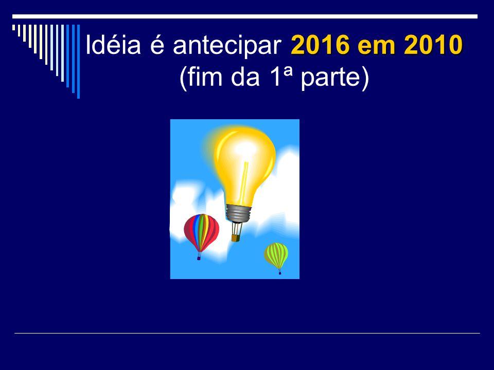 Idéia é antecipar 2016 em 2010 (fim da 1ª parte)