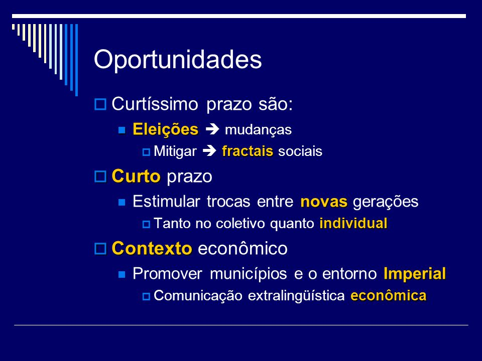 Oportunidades Curtíssimo prazo são: Curto prazo Contexto econômico