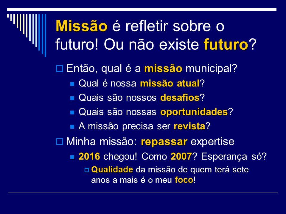 Missão é refletir sobre o futuro! Ou não existe futuro