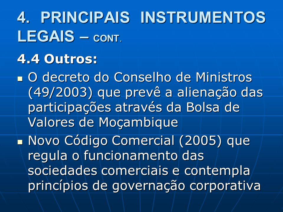 4. PRINCIPAIS INSTRUMENTOS LEGAIS – CONT.