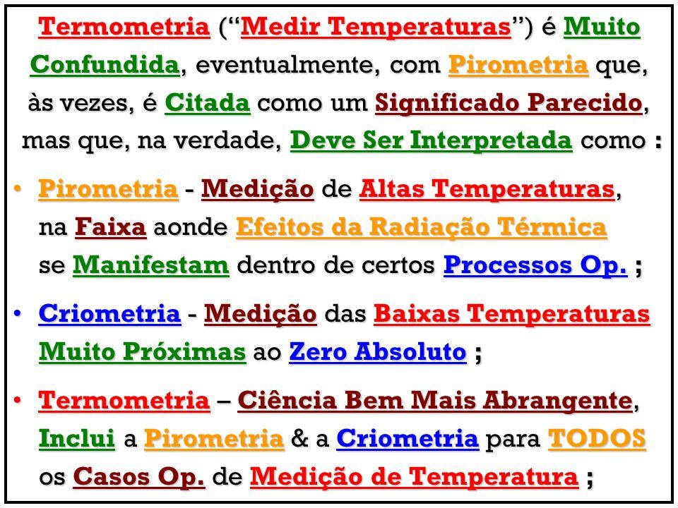 Termometria ( Medir Temperaturas ) é Muito