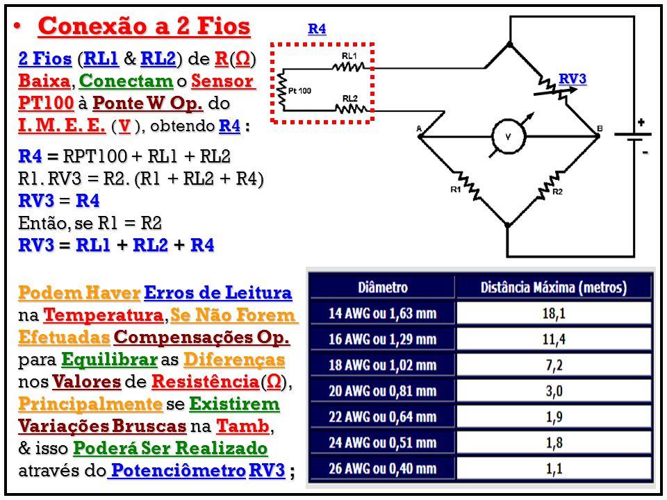 Conexão a 2 Fios 2 Fios (RL1 & RL2) de R(Ω) Baixa, Conectam o Sensor