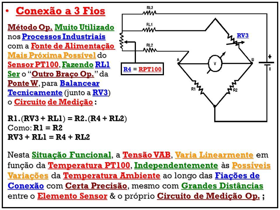Conexão a 3 Fios Método Op. Muito Utilizado. nos Processos Industriais. com a Fonte de Alimentação.