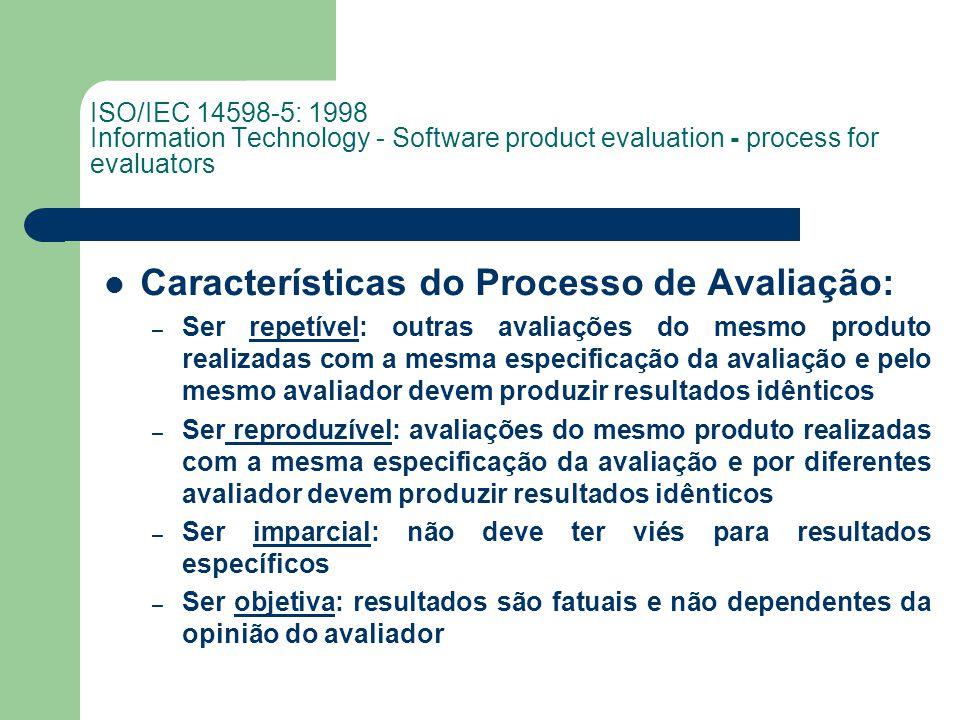 Características do Processo de Avaliação: