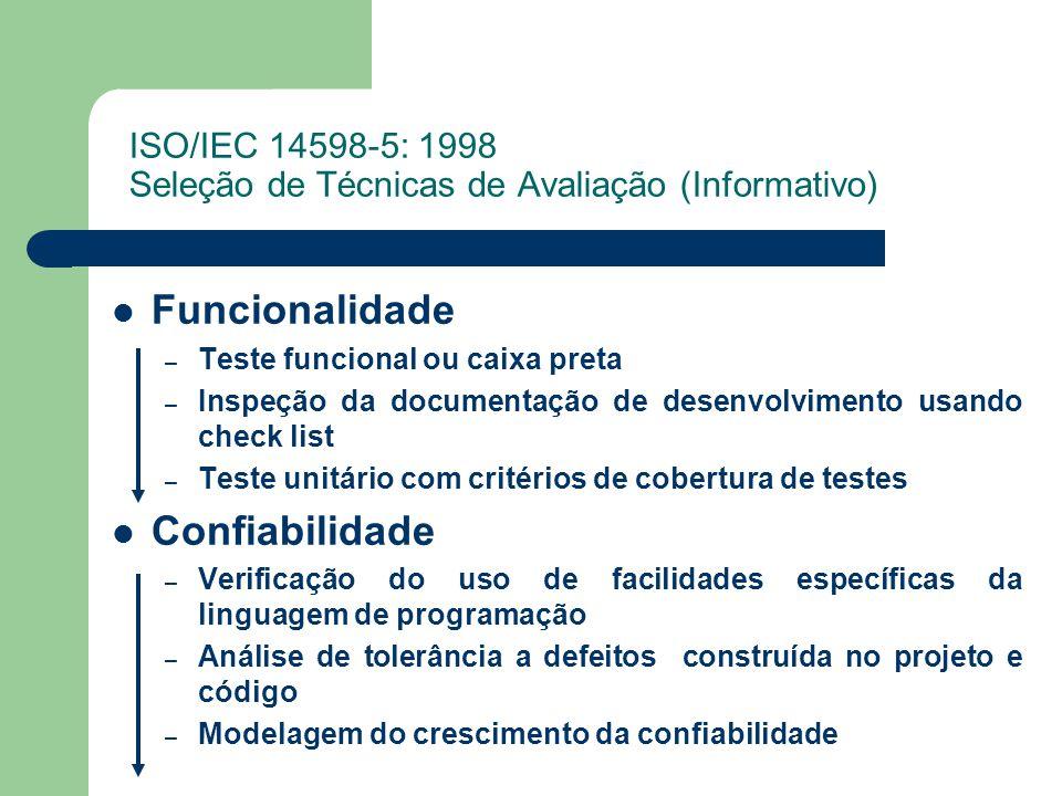 ISO/IEC 14598-5: 1998 Seleção de Técnicas de Avaliação (Informativo)