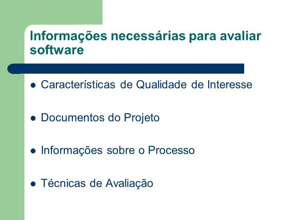 Informações necessárias para avaliar software