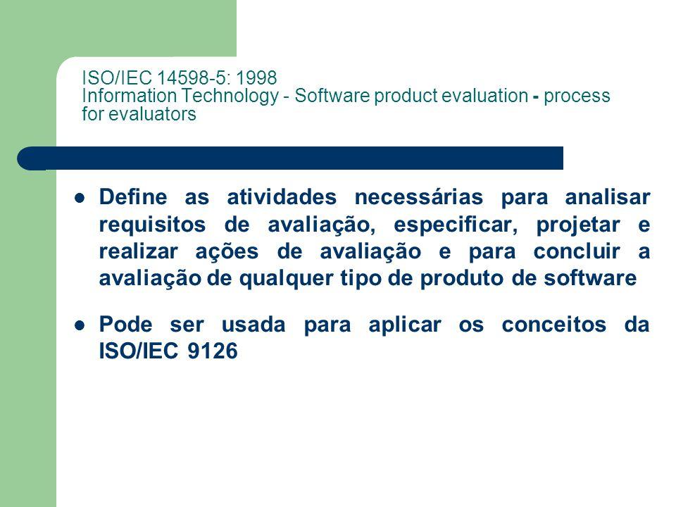 Pode ser usada para aplicar os conceitos da ISO/IEC 9126