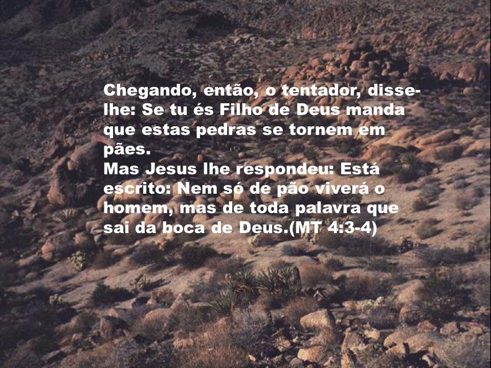 Chegando, então, o tentador, disse-lhe: Se tu és Filho de Deus manda que estas pedras se tornem em pães.