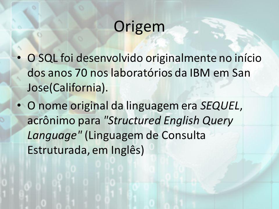 Origem O SQL foi desenvolvido originalmente no início dos anos 70 nos laboratórios da IBM em San Jose(California).