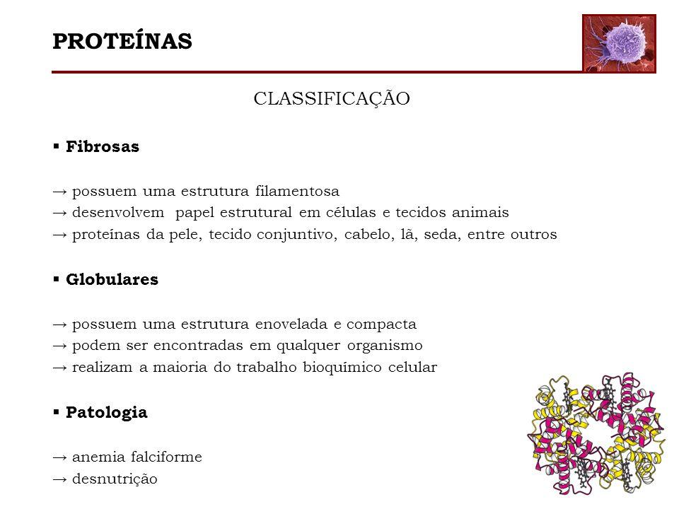 PROTEÍNAS CLASSIFICAÇÃO Fibrosas Globulares Patologia