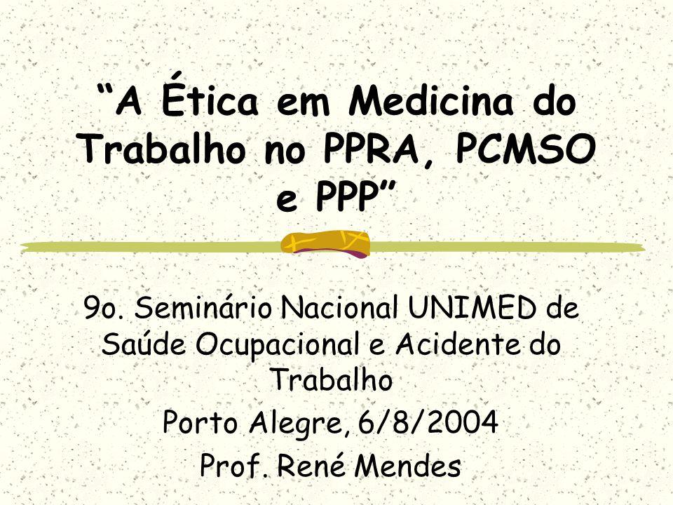 A Ética em Medicina do Trabalho no PPRA, PCMSO e PPP