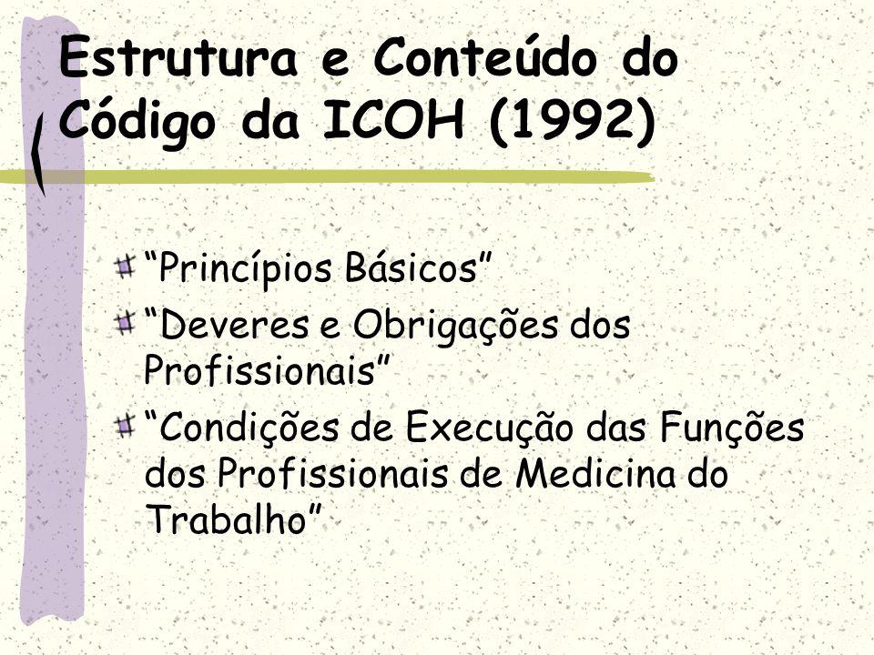 Estrutura e Conteúdo do Código da ICOH (1992)