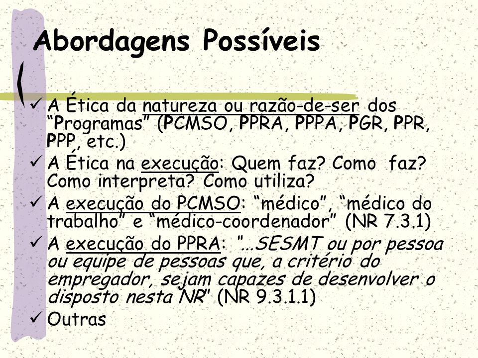 Abordagens Possíveis A Ética da natureza ou razão-de-ser dos Programas (PCMSO, PPRA, PPPA, PGR, PPR, PPP, etc.)