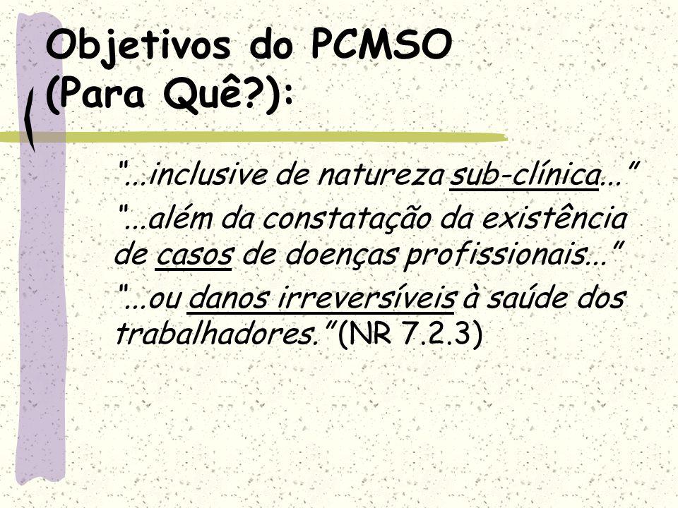 Objetivos do PCMSO (Para Quê ):