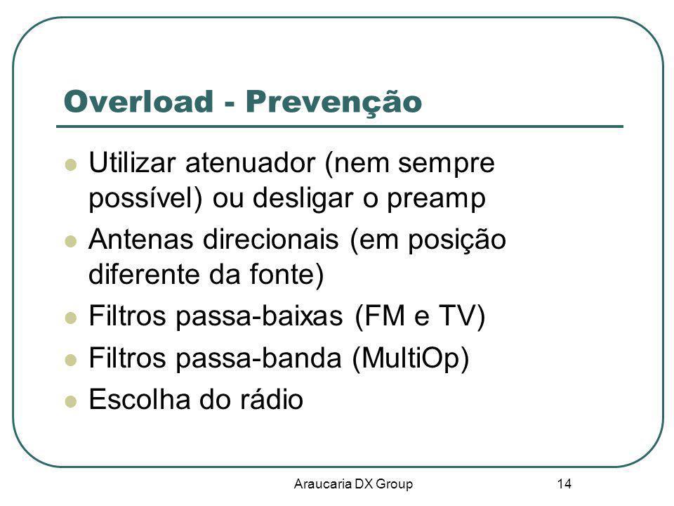 Overload - Prevenção Utilizar atenuador (nem sempre possível) ou desligar o preamp. Antenas direcionais (em posição diferente da fonte)
