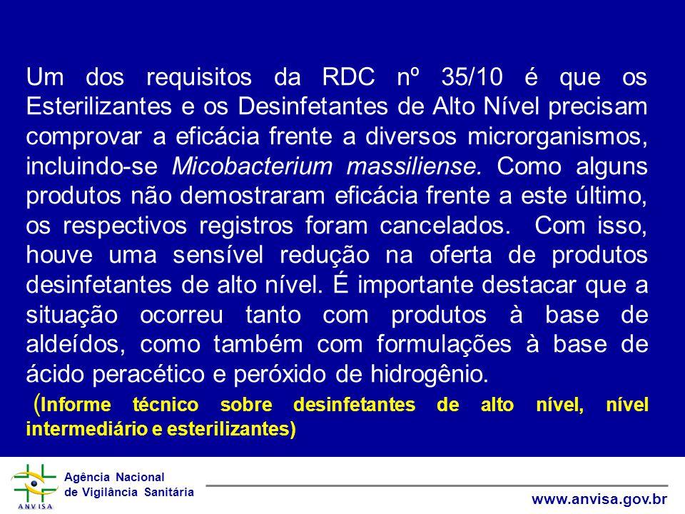 Um dos requisitos da RDC nº 35/10 é que os Esterilizantes e os Desinfetantes de Alto Nível precisam comprovar a eficácia frente a diversos microrganismos, incluindo-se Micobacterium massiliense. Como alguns produtos não demostraram eficácia frente a este último, os respectivos registros foram cancelados. Com isso, houve uma sensível redução na oferta de produtos desinfetantes de alto nível. É importante destacar que a situação ocorreu tanto com produtos à base de aldeídos, como também com formulações à base de ácido peracético e peróxido de hidrogênio.
