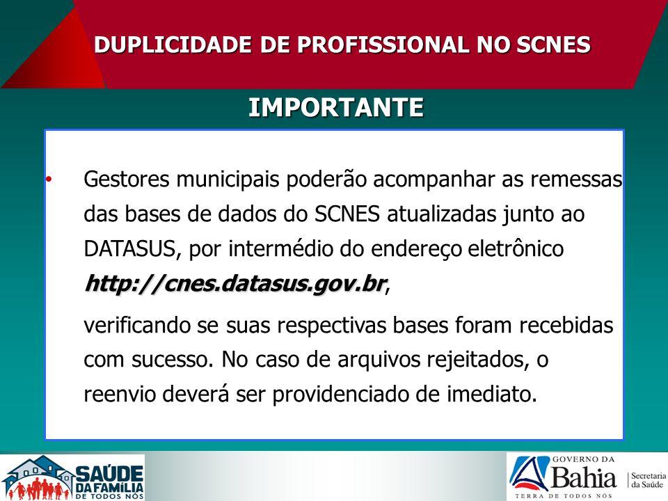 DUPLICIDADE DE PROFISSIONAL NO SCNES